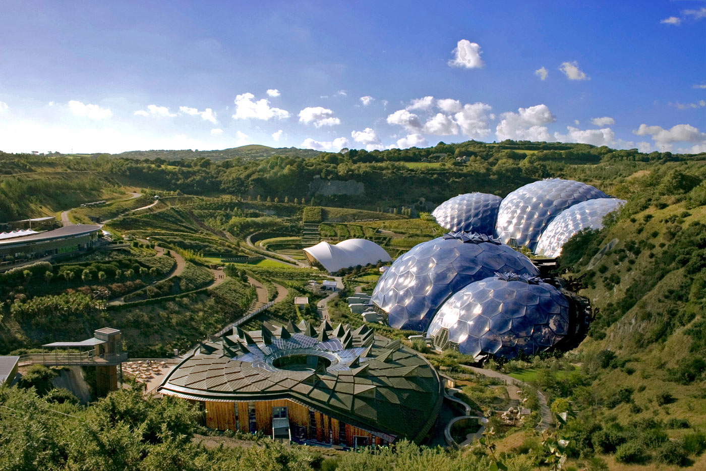 Looking down on the biomes at the Eden Project